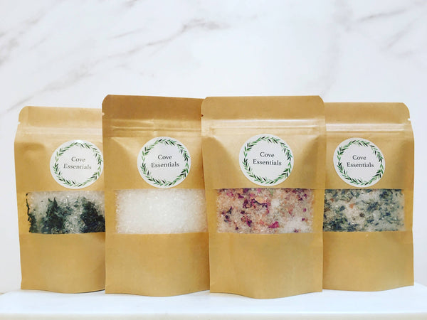 Bath Salt Soak Gift Set: comes with 4 soaks, wrapped, boxed and ready to give.
