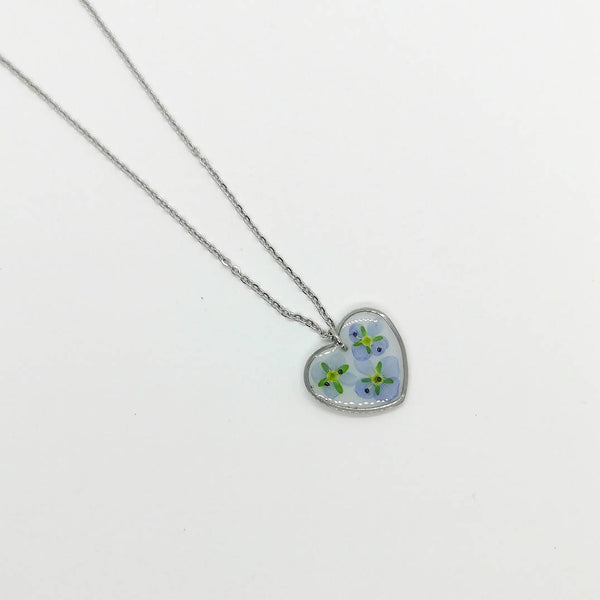 Dried Speedwell flower necklace