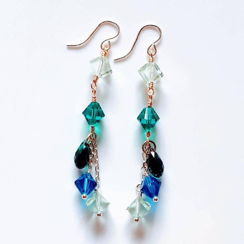 Swarovski Dangle Earrings - Teal