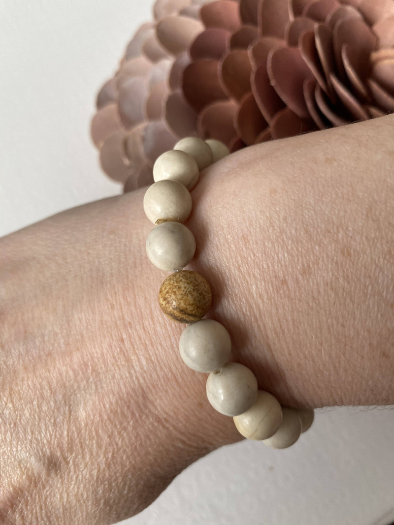 River Stone and Picture Jasper Gemstone Beads