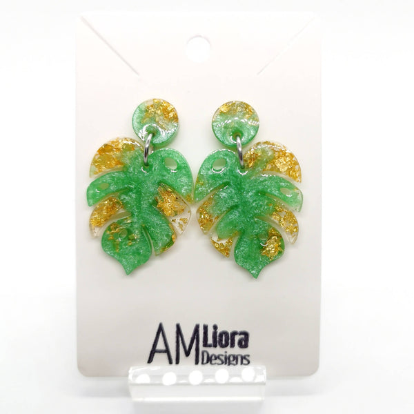 Monstera Leaf Dangling Resin Stud Earrings