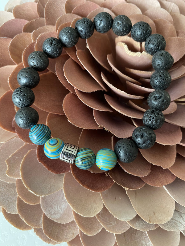 Blue Malachite, Lava Stone, and Stainless Greek Key Gemstone Bracelet
