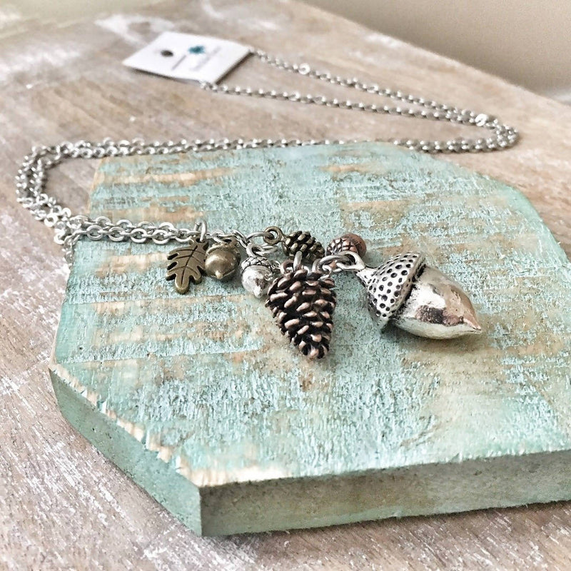 Acorn/pinecone cluster necklace