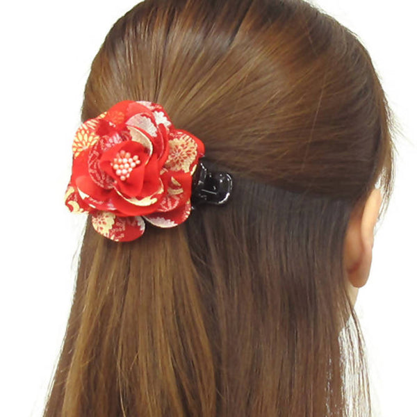Claw hair clip with chiffon and Japanese chirimen crepe fabric flower