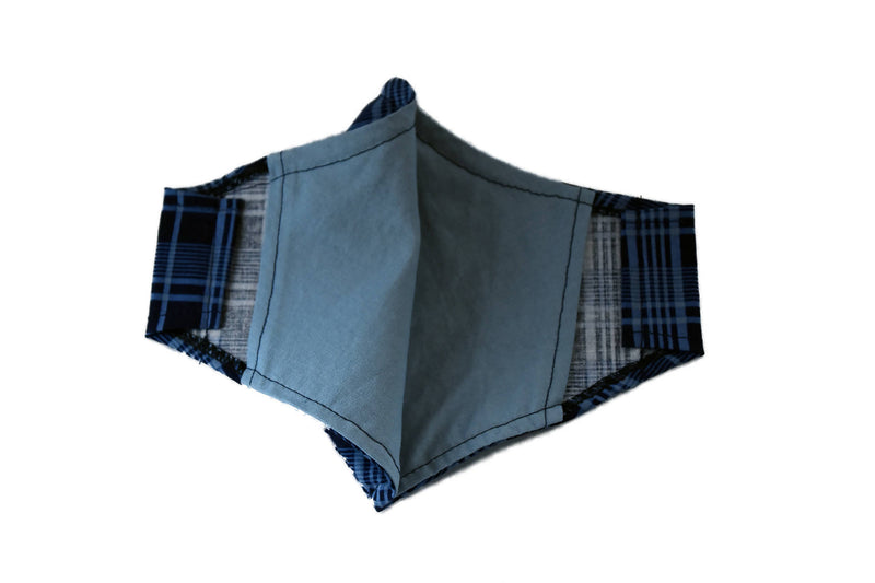 Large Reusable Fabric Face Mask with Filter Pocket - Store Pickup Option - Blue Plaid