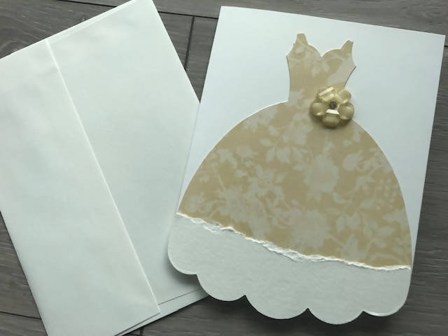 Greeting card 5 x 7. Gown cutout with Embellishment.