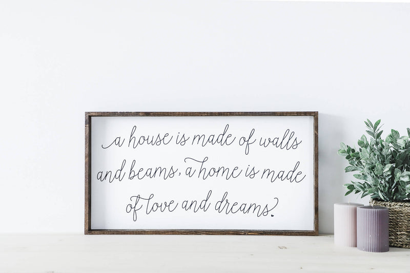 A House Is Made Of Walls And Beams Wood Sign