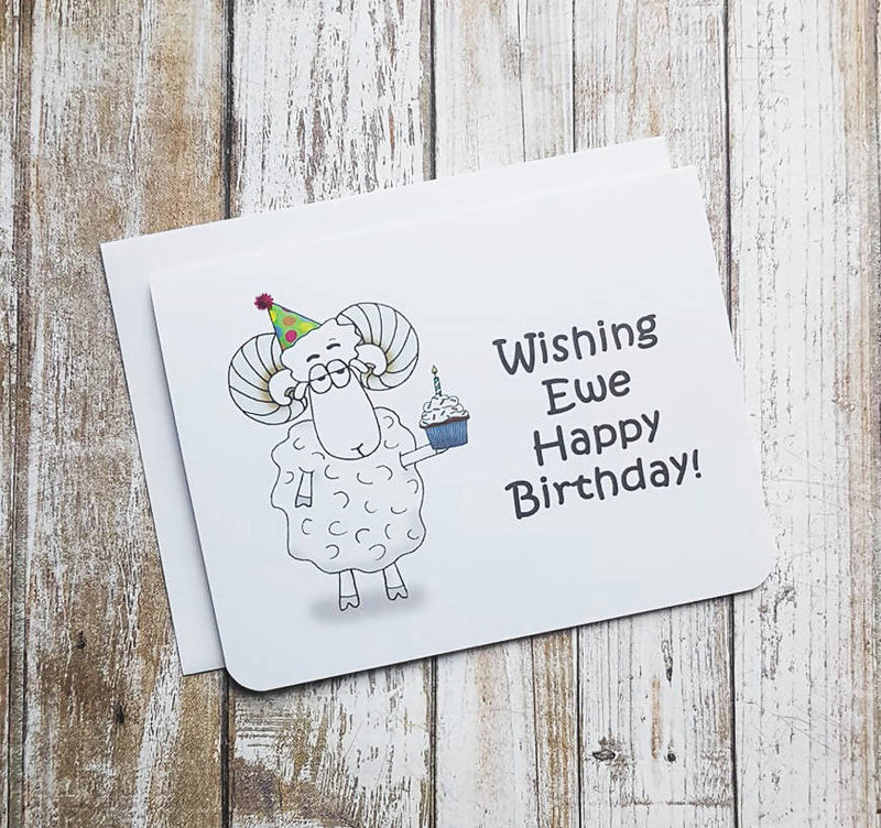 Wishing Ewe Happy Birthday Card