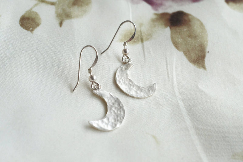 silver moon earrings, unique moon jewellery, the deep winter
