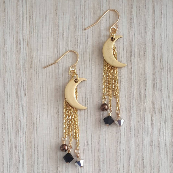 Mini Gold Plated Pewter Crescent Moon dangle earrings with Swarovski bead accents