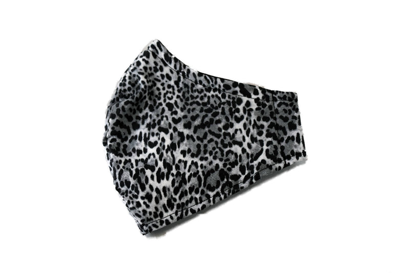 Medium Reusable Fabric Face Mask with Filter Pocket - Store Pickup Option - Grey Leopard