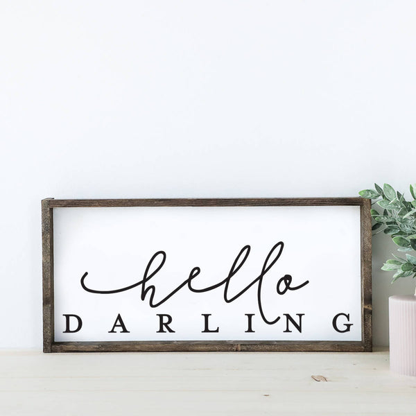 Hello Darling Wood Sign