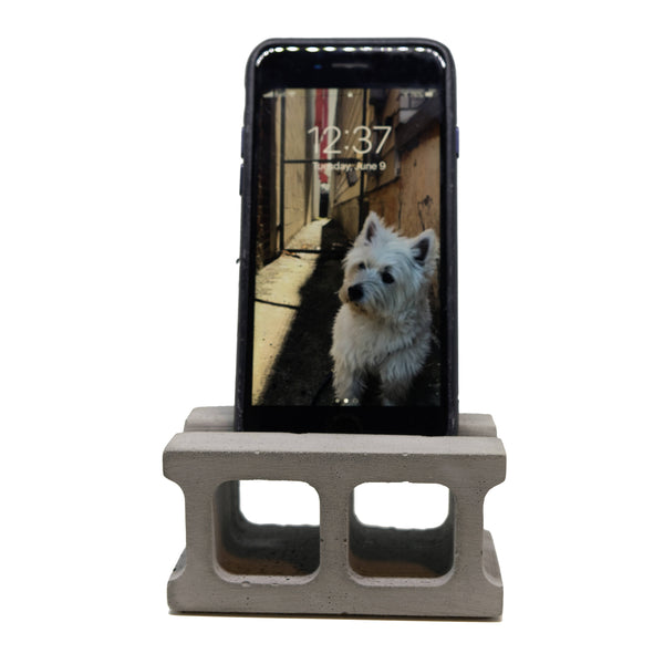 Concrete Cinder Block Phone Stand