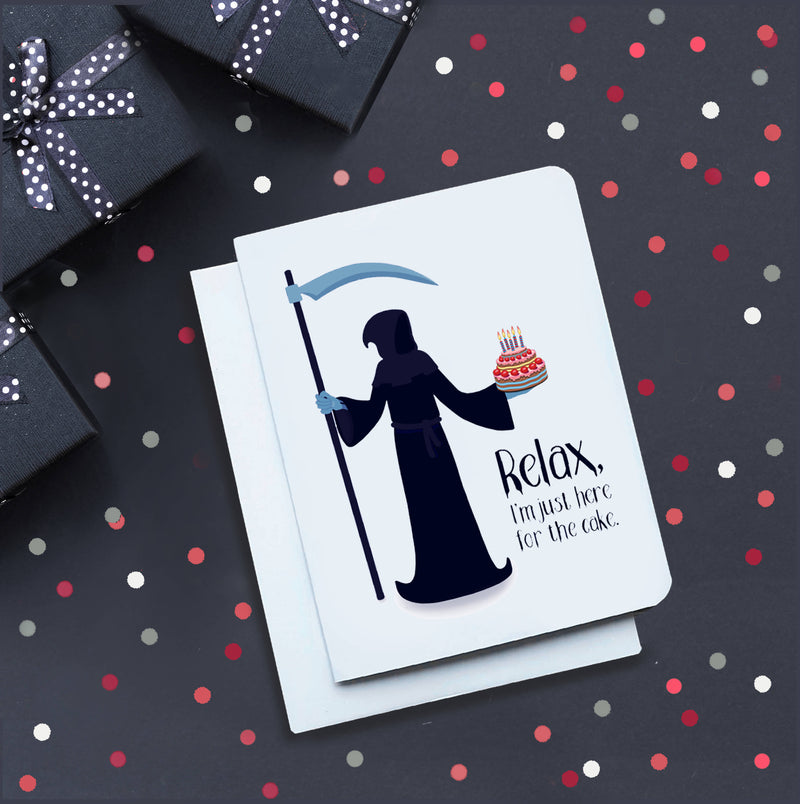 Relax Grim Reaper Birthday Card