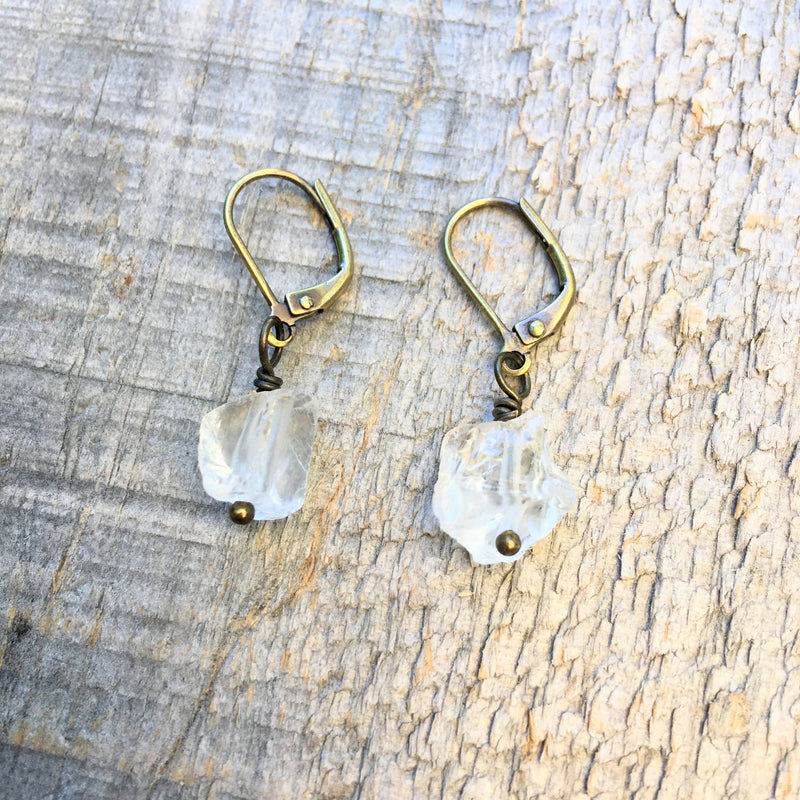 Rough Quartz Drop Earrings