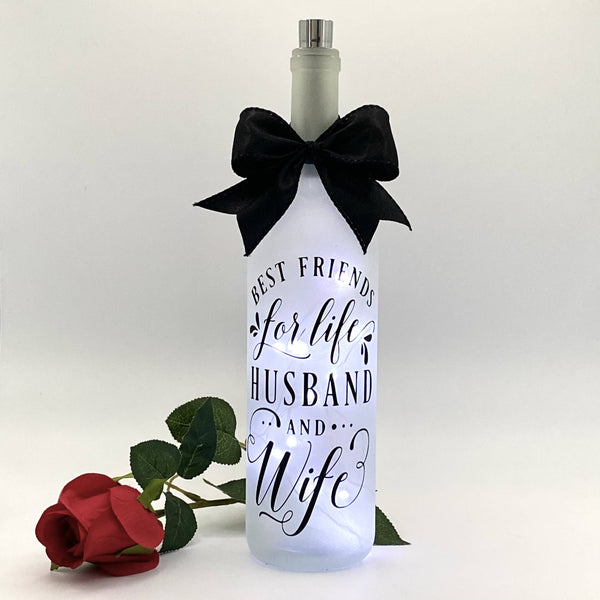 Best friends for life, Husband and Wife - Lighted Bottle