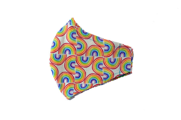 Medium Reusable Fabric Face Mask with Filter Pocket - Rainbows