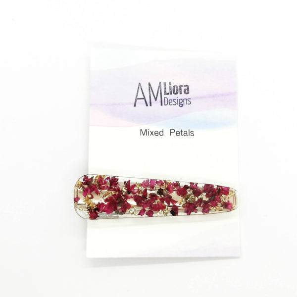 Hair Clip - Mixed Flowers cast in resin