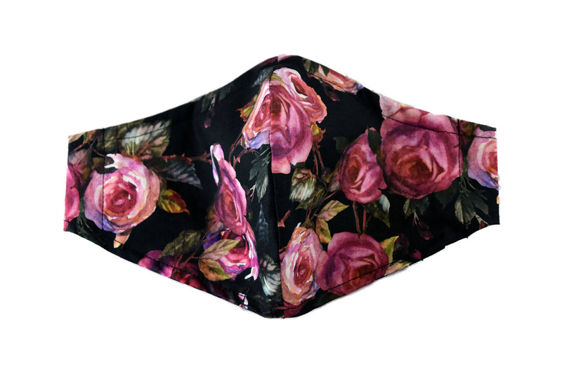 Medium Reusable Fabric Face Mask with Filter Pocket - Dark Roses
