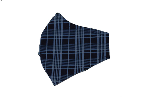 Large Reusable Fabric Face Mask with Filter Pocket - Blue Plaid