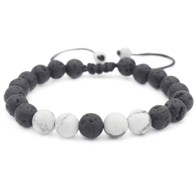 Black Lava Rock with White Bracelet - Essential Oil Bracelet