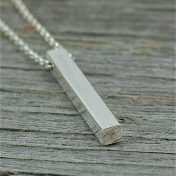 "Silver bar necklace on 30"" chain"