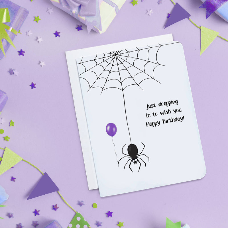Just Dropping In Spider Birthday Card