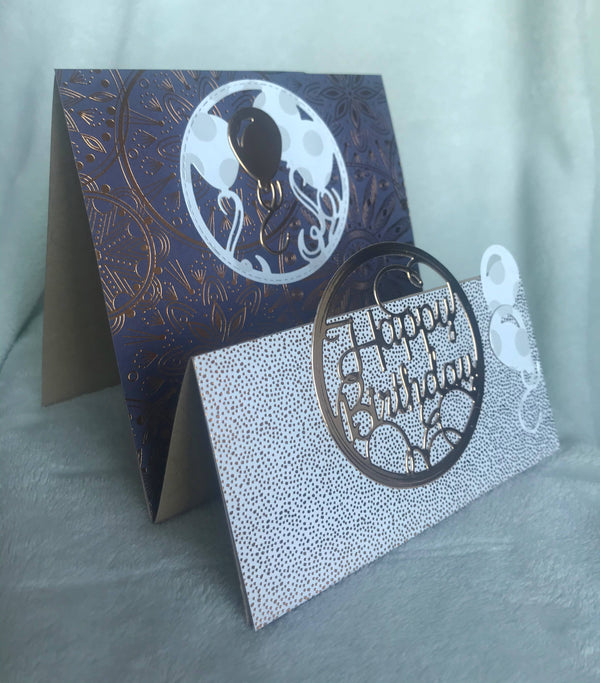 6 x 6 Birthday Card trifold. Rich purple and Rose Gold.
