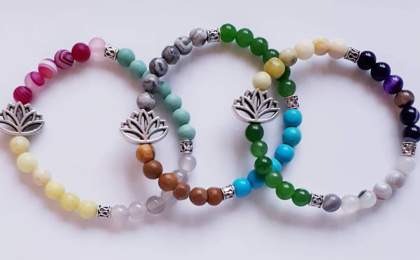 Lotus and Gemstone Bracelet