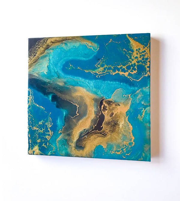 "16 X 16 X 1.5"" Resin Painting on Gallery Basswood Frame"