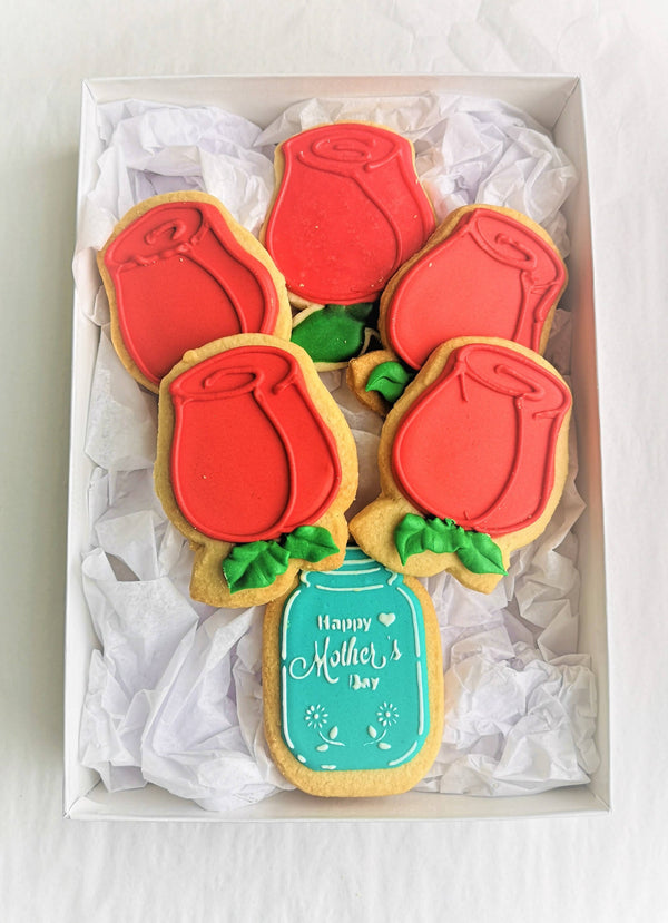 "Mother's Day Cookie Giftbox - ""Red Roses"""