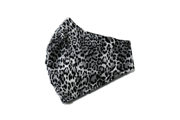 Large Reusable Fabric Face Mask with Filter Pocket - Grey Leopard