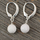 White Agate Golf ball Earrings