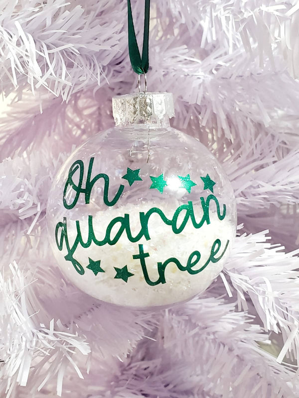 Oh Quarantree Ornament With Glitter Snow