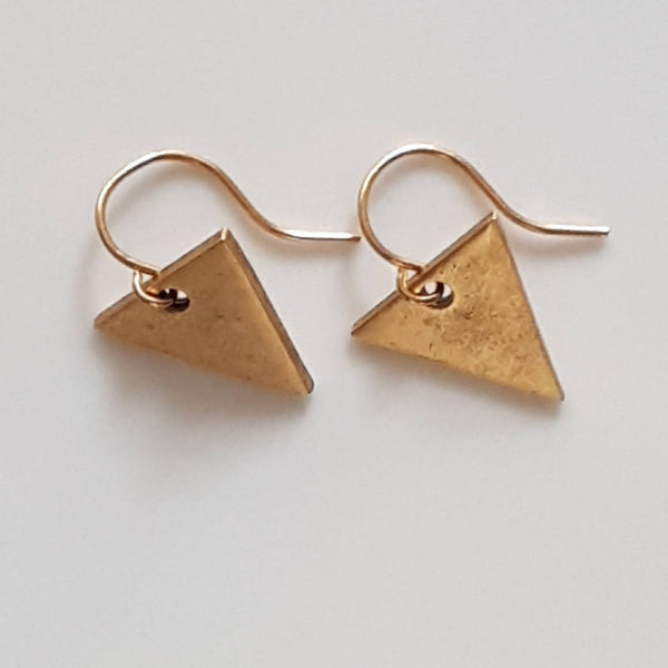 Mini Triangle Gold Plated Pewter Earrings