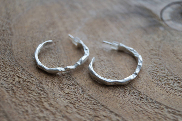 Silver .925 Hoop Earrings with Organic Texture