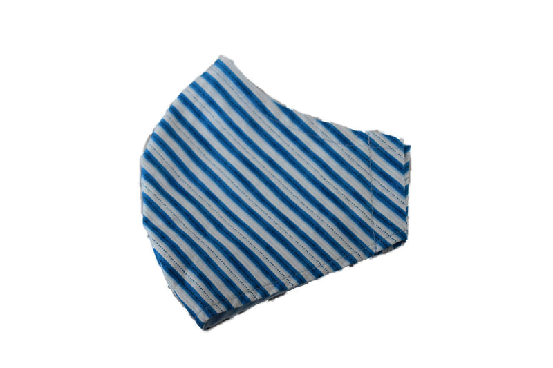 Large Reusable Fabric Face Mask with Filter Pocket - Blue Stripe
