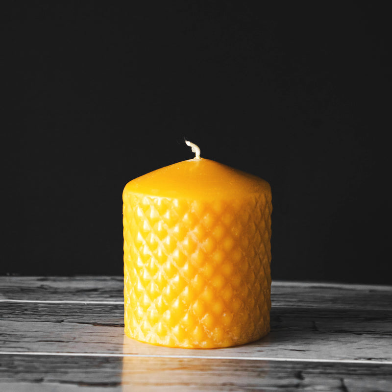 Beeswax Small Diamond Pillar Candle