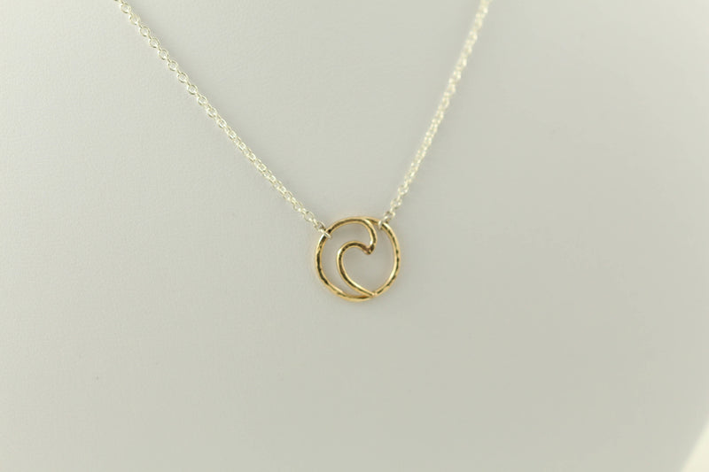 Handmade forged durable solid 14 karat gold Ocean Wave Pendant on chain The ocean wave pendant is one of the most versatile chains to wear.