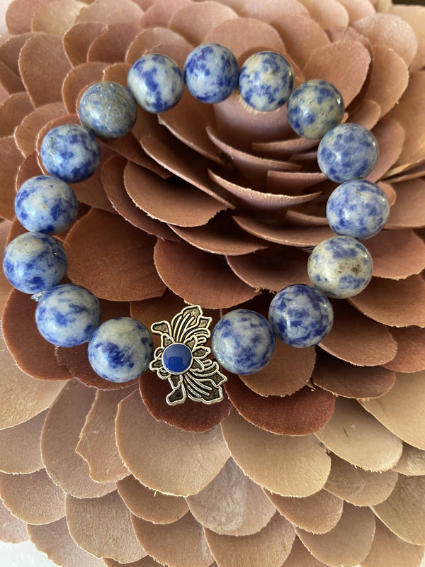 Sodalite and Flower Charm Gemstone Bracelet