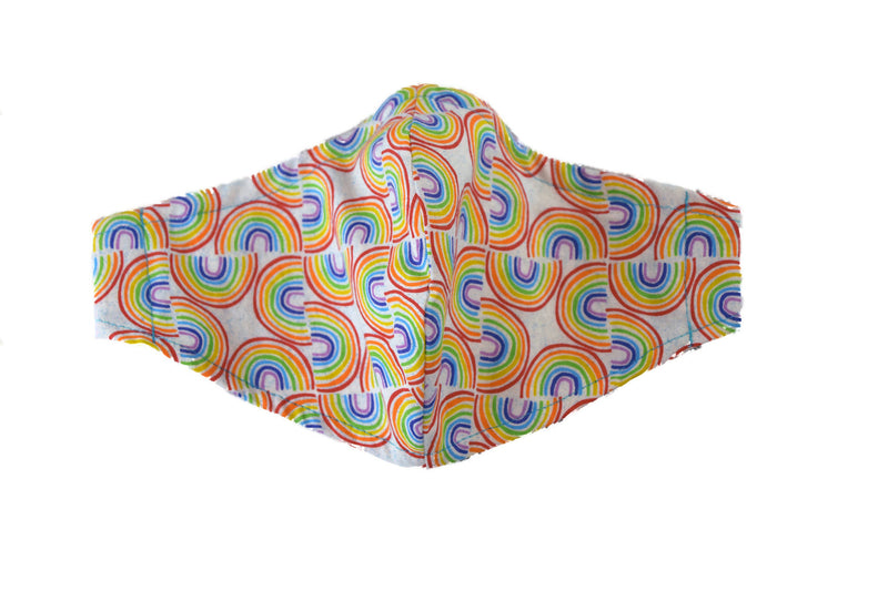Large Reusable Fabric Face Mask with Filter Pocket - Rainbows