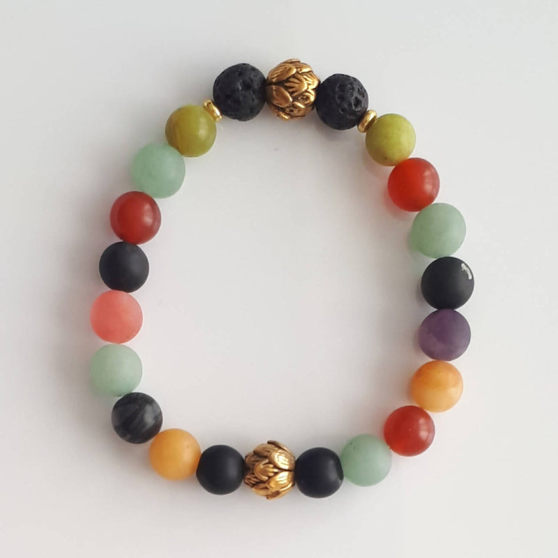 Aromatherapy and Mixed Gemstone Bracelets with Pewter Lotus Bud Bead