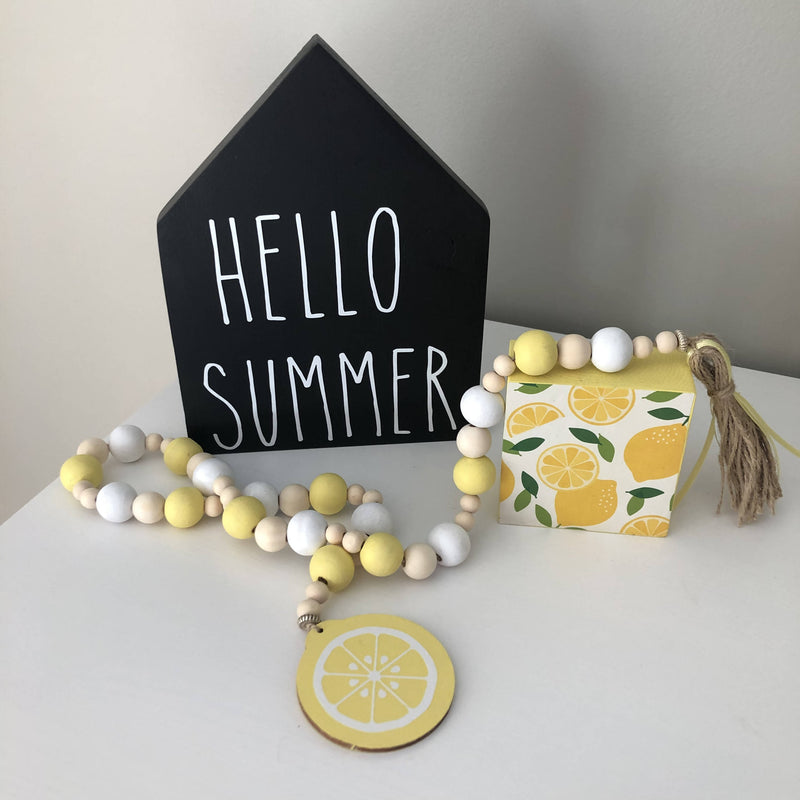 Bead Garland Yellow and white lemon