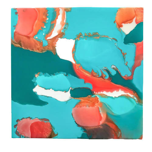 24 X 24 X 1.5 copper turquoise resin painting
