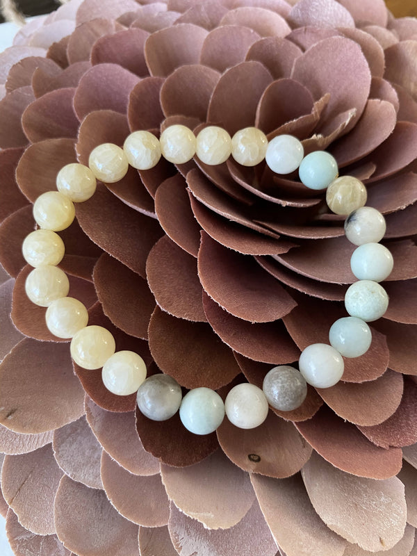 Yellow Jade and Amazonite Gemstone Bracelet