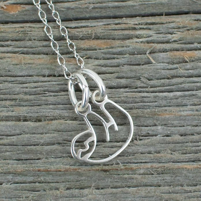 Sloth necklace in Sterling silver