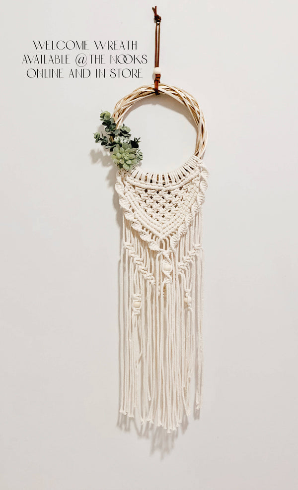 Welcome Wreath Macramé Wreath with Succulents