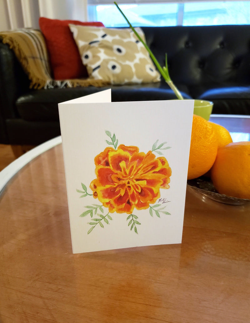French marigold watercolour greeting card