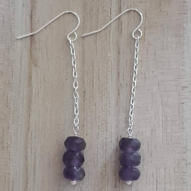 Amethyst Rondelle Drop Earrings