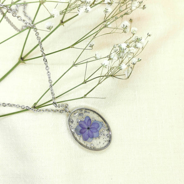 Hydrangea Flower Necklace w/ Silver Leaf